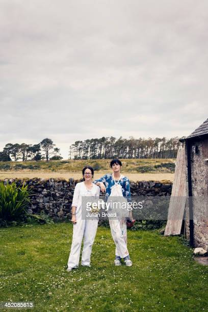 Issy and Stella Tennant outside their studio are photographed for the New York Times Style Magazine on August 8 2013 in Kelso Scotland