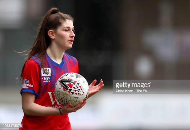 Issy Dean of Blackburn Rovers takes a throw in during the Barclays FA Women's Championship match between London City Lionesses and Blackburn Ladies...