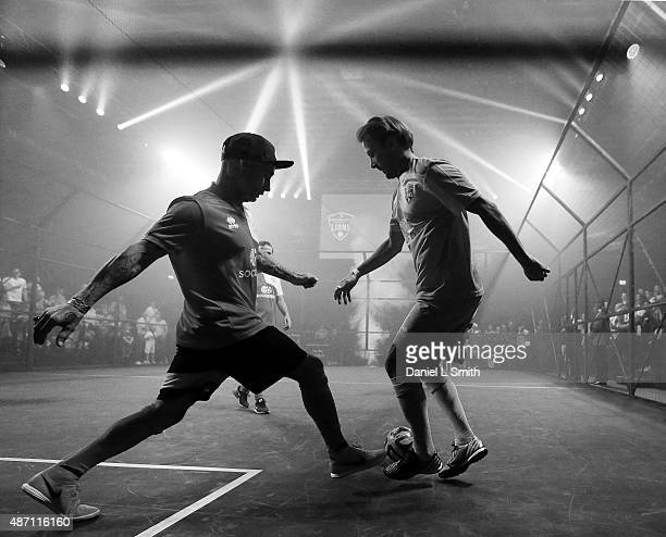 Issy Hamdaoui of Scorpions in control during the Soccerex - Manchester football festival at Granada Studios on September 6, 2015 in Manchester,...
