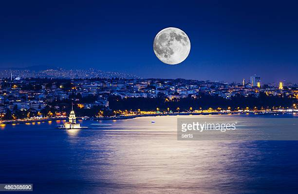 Istanbul at Night with Moon