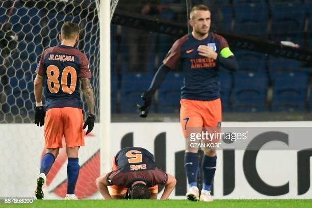 Istanbul Basaksehir's Emre Belezoglu reacts after scoring during the UEFA Europa League football match Istanbul Basaksehir FK vs SC Braga at the...