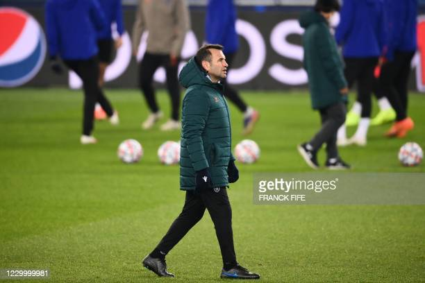 Istanbul Basaksehir's Turkish coach Okan Buruk attends a training session on the eve of the UEFA Champions League group H football match between...