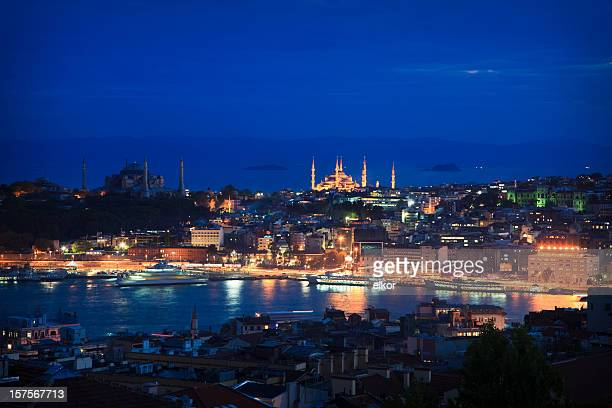 istanbul by night - istanbul province stock photos and pictures
