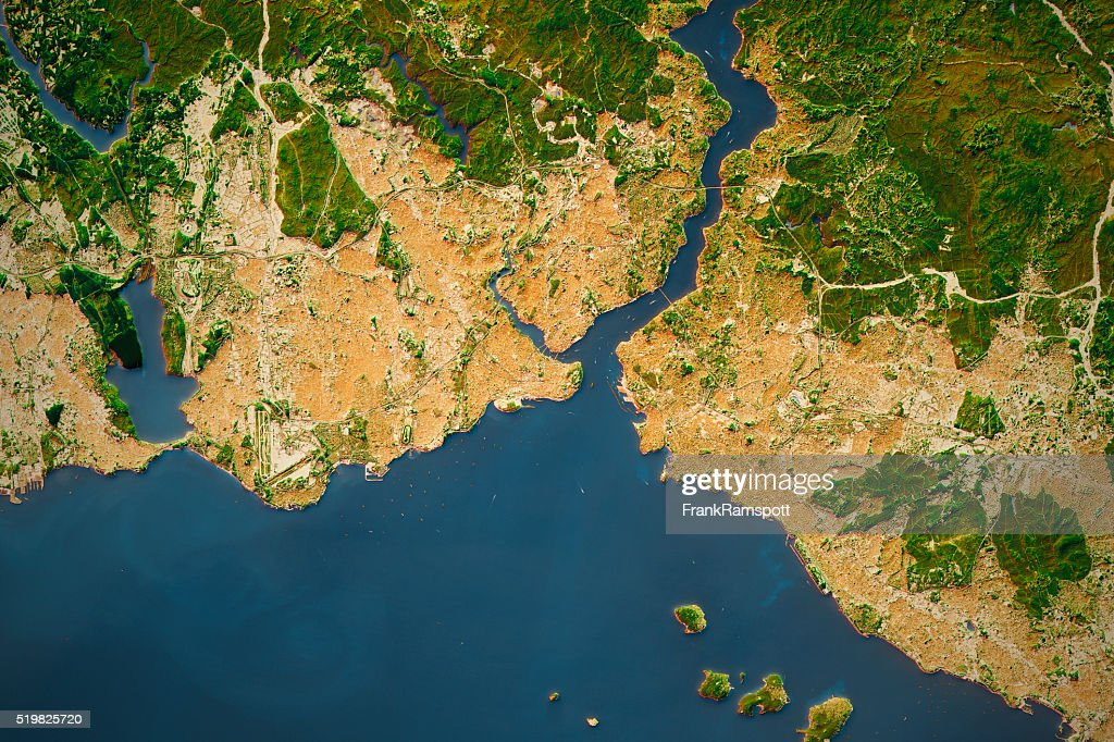 Istanbul City Topographic Map Natural Color : Stock Photo