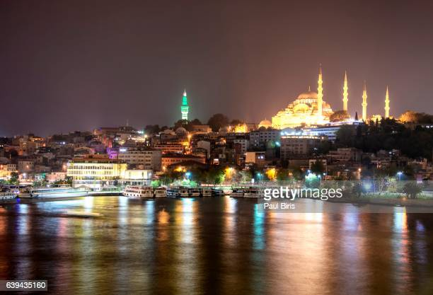 istanbul cityscape at night, turkey - istanbul province stock photos and pictures