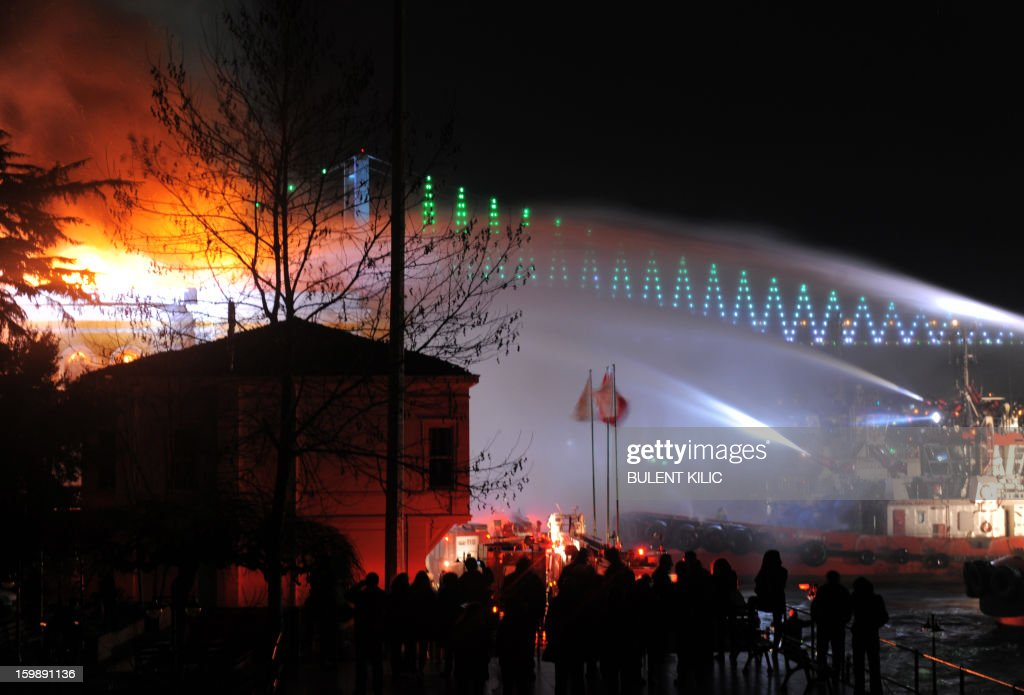Istanbul fireteams try to control flames at Galatasaray University on January 22, 2013, in Istanbul.