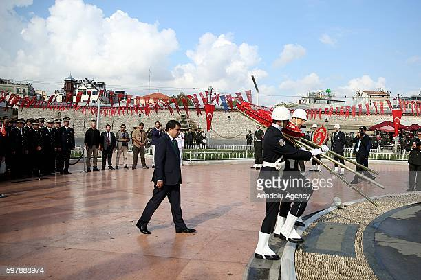 Istanbul Governor Vasip Sahin attends ceremony at Taksim Republic Monument to mark 94th Anniversary of Turkeys Victory Day in Istanbul, Turkey on...