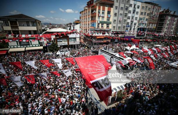 Istanbul mayoral candidate of Republican People's Party Ekrem Imamoglu addresses the crowd during a meeting in Sultanbeyli district of Istanbul...