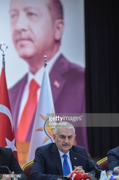 Istanbul mayoral defeated candidate Binali Yildirim of Turkish ruling Justice and Development Party speaks during a press conference at AKP's...