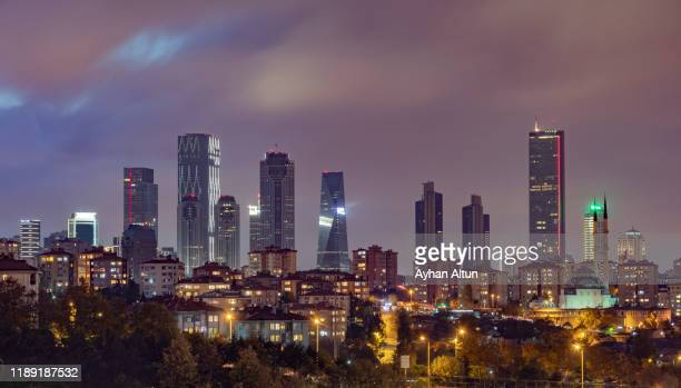 istanbul modern skyline at night in besiktas district of istanbul, turkey - contemporary istanbul foto e immagini stock