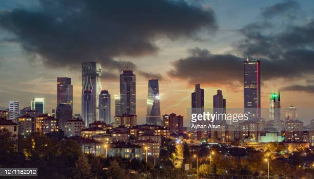 istanbul modern skyline at night in besiktas district of istanbul - turkey middle east stock pictures, royalty-free photos & images