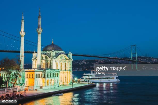Istanbul Ortakoy Mosque and Bosphorus Bridge at Night Turkey