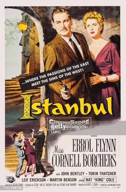 Istanbul, poster, l-r: Errol Flynn, Cornell Borchers on poster art, 1957.