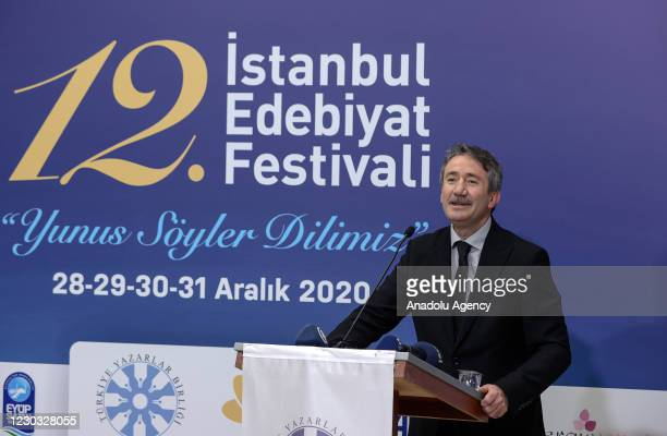 Istanbul Provincial Director of National Education Levent Yazici speaks during an opening program of the 12th Istanbul Literature Festival of which...