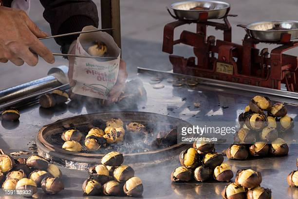 istanbul, roasted chestnuts - chestnut food stock pictures, royalty-free photos & images