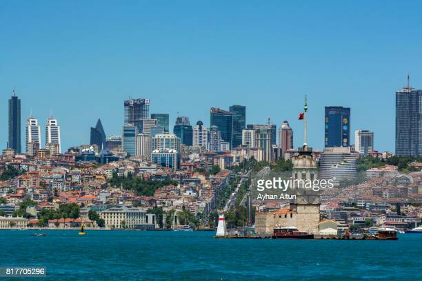istanbul skyline seen from bosphorus ferry,besiktas ,turkey - istanbul province stock photos and pictures