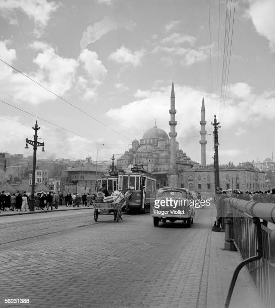 Istanbul The bridge of Karakoey and the Yeni Cami mosque June 1952 RV97415