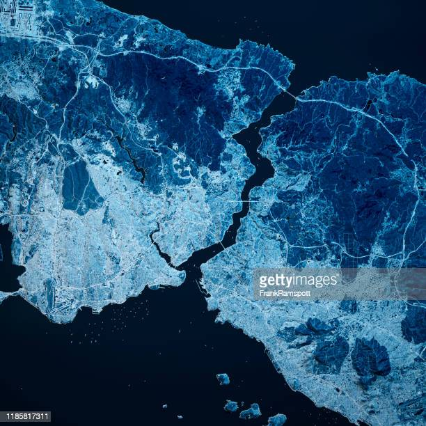 istanboel turkije 3d renderen blue top view oct 2018 - frankramspott stockfoto's en -beelden