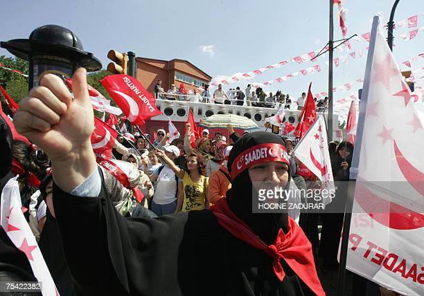 A supporter of Necmettin Erbakan leader of Saadet party attends an election rally in Istanbul 15 July 2007 Turkey holds parliamentary elections on 22...
