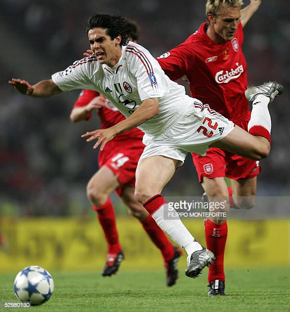 AC Milan's Brazilian forward Kaka vies with Liverpool's Finnish defender Sami Hypia during the UEFA Champions league football final AC Milan vs...