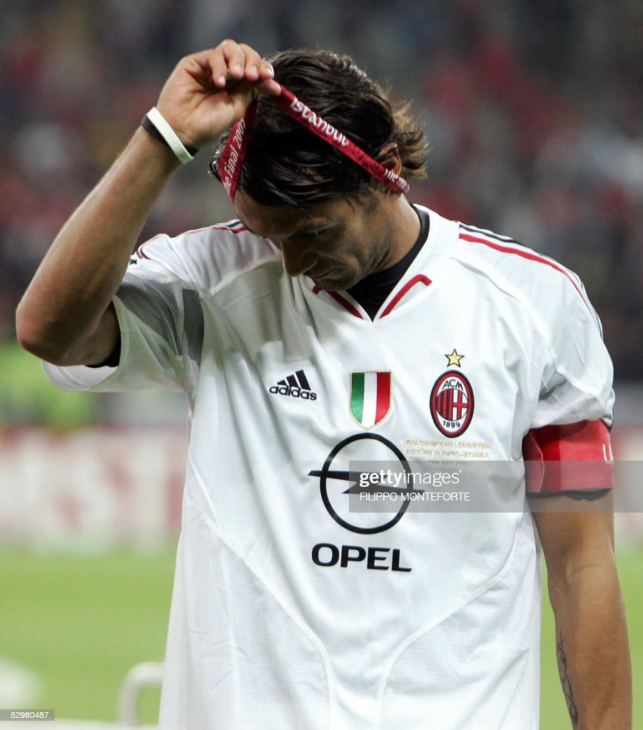 AC Milan's Italian captain and defender Paolo Maldini takes off his medal at the end of the UEFA Champions league football final AC Milan vs Liverpool, 25 May 2005 at the Ataturk Stadium in Istanbul. Liverpool won 3-2 on penalties.