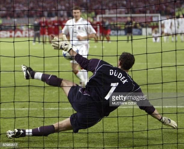 AC Milan's Ukrainian forward Andriy Shevchenko misses a penalty kick during the UEFA Champions league football final AC Milan vs Liverpool 25 May...