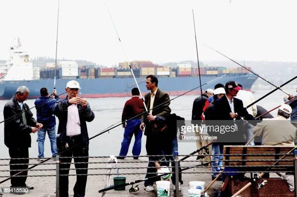 Istanbul Turkey Fishing in the Bosphorus Sea of Marmara