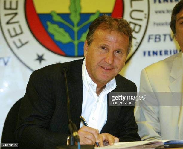 Former Japanese soccer coach Zico of Brazil signs a contract with Turkish football team Fenerbahce at Sukru Saracoglu Stadium in Istanbul 06 July...