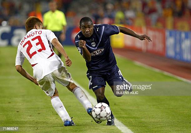 Galatasaray's Junichi Inamoto fights for the ball with Bordeaux' Edixon Perea during their Champions League match 12 September 2006 at Ataturk...