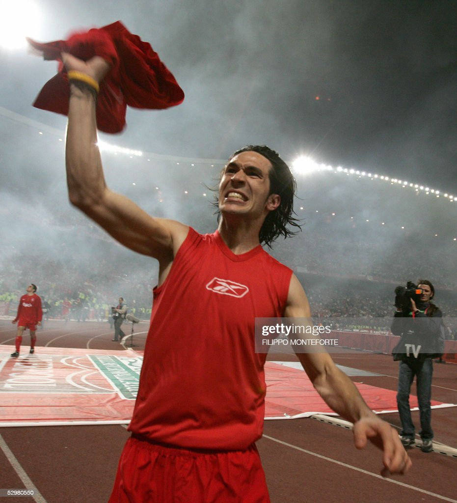 Liverpool's Spanish midfielder Luis Garcia celebrates at the end of the UEFA Champions league football final AC Milan vs Liverpool, 25 May 2005 at the Ataturk Stadium in Istanbul. Liverpool won 3-2 on penalties.