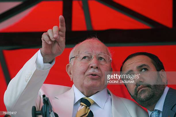 Necmettin Erbakan leader of Saadet party gestures as he holds an election rally in Istanbul 15 July 2007 Turkey holds parliamentary elections on 22...