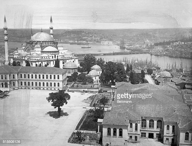 Photo showing the Hagia Sophia and the harbor