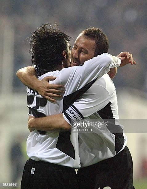 Sergen Yalcin and Ibrhim Akin of Besiktas celebrate the goal 01 December 2005 at UEFA Cup Group H match at Inonu Stadium in Istanbul AFP PHOTO/ALI...