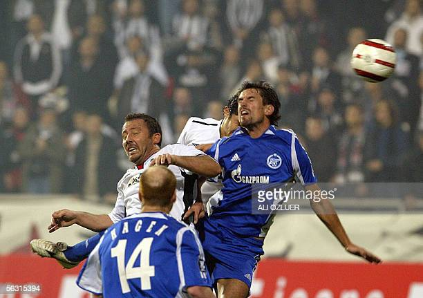 Sergen Yalcin of Besiktas heading the ball as Erik Hagen and Ivica Krizanac of Zenit traying to block 01 December 2005 at UEFA Cup Group H match at...