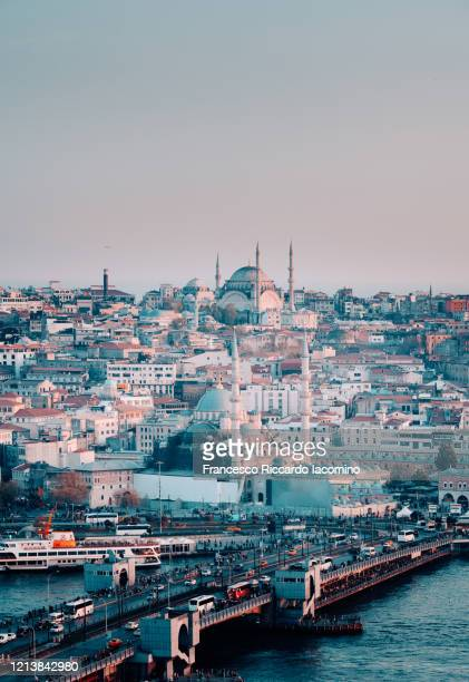 istanbul, turkey. skyline and galata bridge from above, sunset. cinematic look - ancient civilisation stock pictures, royalty-free photos & images