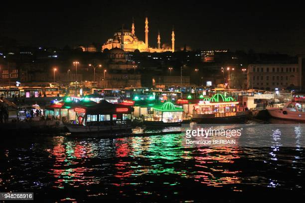 Istanbul Turkey Suleymaniye Mosque On the docks the restaurants have their cuisisne on boats They offer fish from the Bosphorus