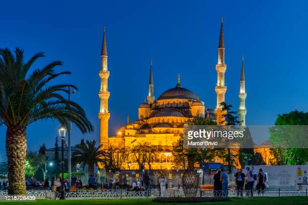 istanbul turkey. sultan ahmed mosque at sunset (blue mosque) - marco brivio stock pictures, royalty-free photos & images