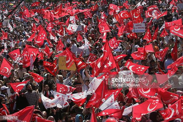 Supporters of Necmettin Erbakan leader of Saadet party take part in an election rally in Istanbul 15 July 2007 Turkey holds parliamentary elections...