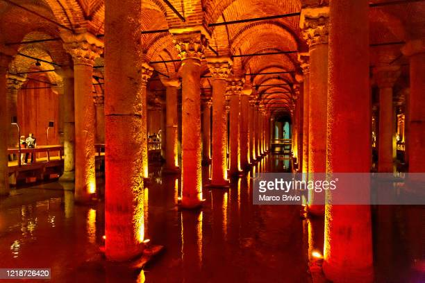 istanbul turkey. the underground basilica cistern (cisterna basilica) - marco brivio stock pictures, royalty-free photos & images