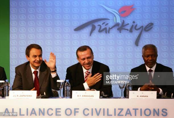 United Nations Secretary-General Kofi Annan , Spanish Prime Minister Jose Luis Zapatero and Turkish Prime Minister Recep Tayyip Erdogan laugh 13...