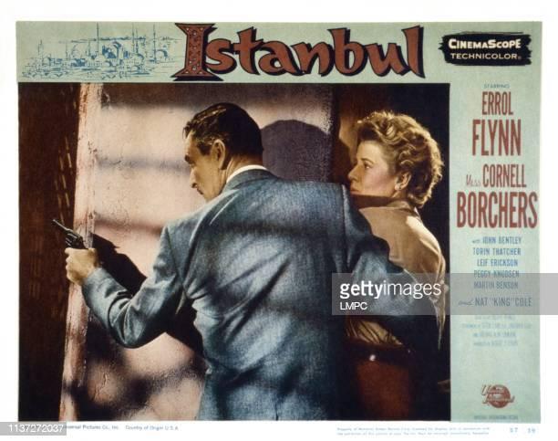Istanbul, US lobbycard, from left: Errol Flynn, Cornell Borchers, 1957.
