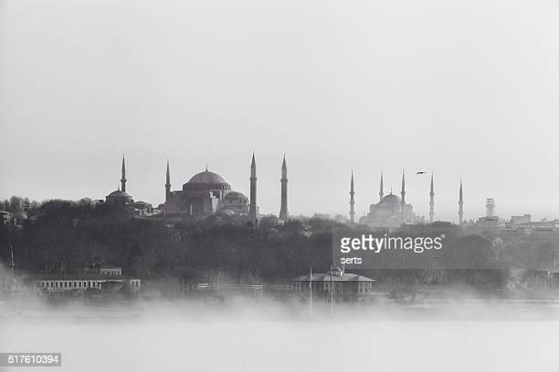 istanbul view in fog - mosque stock pictures, royalty-free photos & images