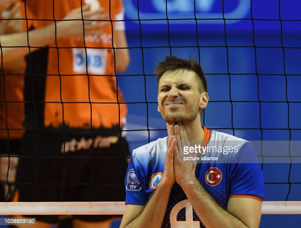 Istanbul's Antonin Rouzier reacts during the Champions League round of 16 secondleg volleyball match between Berlin Volleys and Istanbul BBSK in...