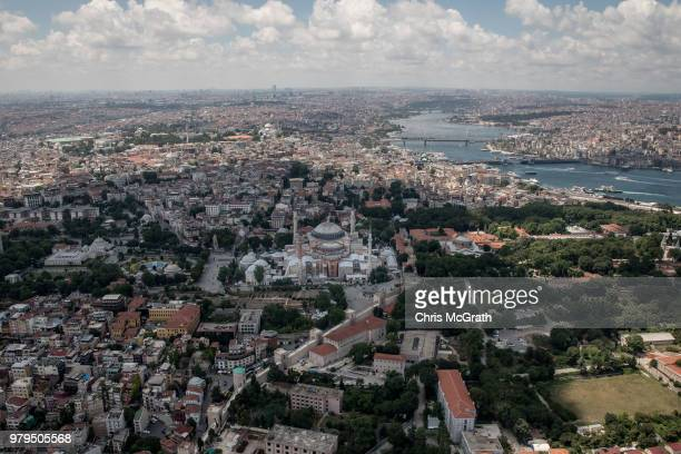 Istanbul's famous Hagia Sofia is seen during a Kaan Air helisightseeing tour on June 20 2018 in Istanbul Turkey Presidential candidates from all...
