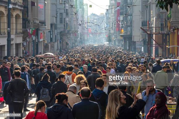 istiklal street, beyoglu, istanbul - turkey middle east stock pictures, royalty-free photos & images
