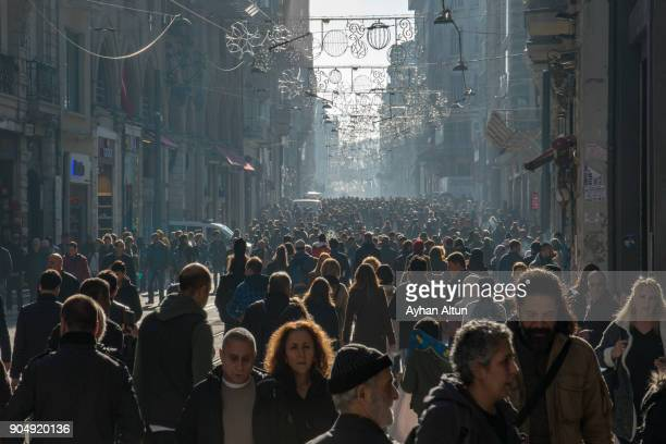 istiklal street,beyoglu,istanbul,turkey - turkey middle east stock photos and pictures