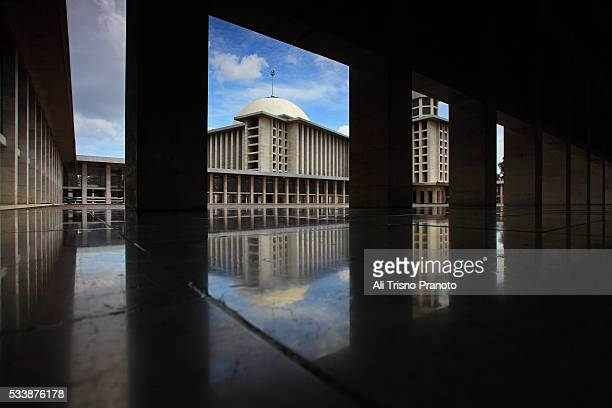 Istiqlal Mosque with dramatic sky in frame, Jakarta