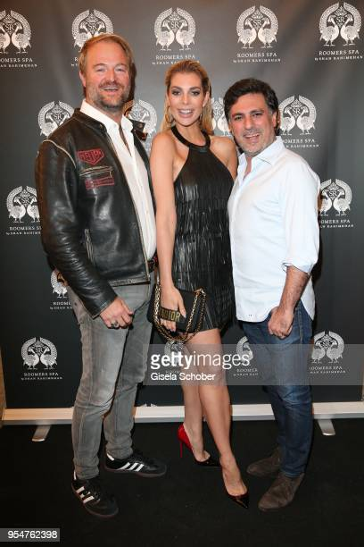 Istok Kespret and Annika Gassner and Shan Rahimkhan during the Grand Opening of Roomers Spa by Shan Rahimkhan on May 4, 2018 in Munich, Germany.