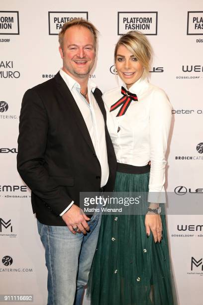 Istok Kespret and Annika Gassner attend the 'The NRW Design Issue' show during Platform Fashion January 2018 at Areal Boehler on January 27, 2018 in...