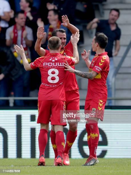 Istvan Bakx of Go Ahead Eagles Paco van Moorsel of Go Ahead Eagles Jaroslav Navratil of Go Ahead Eagles celebrate goal during the Dutch Keuken...